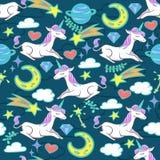 Seamless pattern with unicorns and magic elements. Colorful seamless pattern with unicorns and magic elements. Vector illustration stock illustration