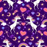 Seamless pattern with unicorns and magic elements. Colorful seamless pattern with unicorns and magic elements. Vector illustration vector illustration