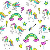 Seamless pattern with unicorns, rainbow, heart, crown and other elements.Vector background with stickers, pins, patches. In cartoon 80s-90s comic style Stock Photography