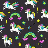 Seamless pattern with unicorns, rainbow, heart, crown and other elements.Vector background with stickers, pins, patches. In cartoon 80s-90s comic style Royalty Free Stock Image