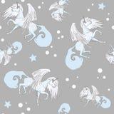 Seamless pattern with unicorns vector illustration
