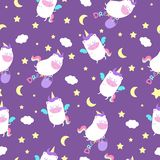 Seamless pattern with unicorns. Seamless vector pattern with cute unicorns, moon and stars. Perfect for fabric, wallpaper, wrapping paper or nursery decor