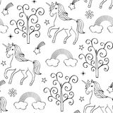 Pattern with unicorns Stock Images