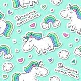 Seamless pattern with unicorns royalty free illustration
