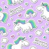 Seamless pattern with unicorns Royalty Free Stock Photo