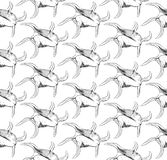 Seamless pattern Unique sea shells Harpago is a genus of sea snails, marine gastropod mollusks in the family Strombidae. Sketch. Black contour on white vector illustration