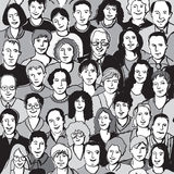 Seamless pattern unrecognizable people faces in crowd royalty free illustration