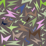 Seamless pattern, unusual colorful geometrical figures on a brown background,. Vector illustration Stock Photos
