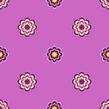 Seamless pattern, unusual flowers on purple background Royalty Free Stock Images