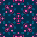 Seamless pattern, an unusual pattern of circles, swirls and flowers. On to a dark blue background, vector illustration royalty free illustration