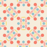 Seamless pattern, an unusual pattern of colored circles, swirls and flowers. Vector illustration royalty free illustration