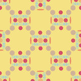 Seamless pattern, an unusual pattern on a yellow background. Seamless pattern, an unusual pattern of circles, swirls and flowers on a yellow background, vector Royalty Free Stock Images