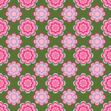 Seamless pattern, unusual pink flowers on a green background Royalty Free Stock Images
