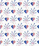 Seamless pattern for US Independence Day 4th of July. Fireworks and heart in American national flag colors. Seamless pattern for US Independence Day 4th of July stock illustration