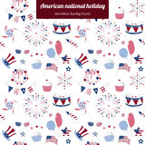 Seamless pattern for USA national holiday. Background with vector elements for America Independence Day, 4th of July. Fireworks, flag and BBQ. Blue and red Stock Images