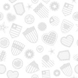 Seamless pattern of USA symbols. Seamless pattern of various USA symbols in gray colors on white background Stock Image