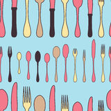 Seamless pattern utensil. Kitchen staff cutlery set. Royalty Free Stock Images