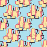 Seamless pattern utensil. Kitchen staff plates, cups, cutlery and tea set. Vector EPS10. Royalty Free Stock Photography