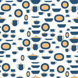 Seamless pattern utensil. Kitchen staff plates, cups, cutlery and tea set. Vector EPS10. Royalty Free Stock Images