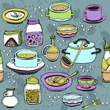 Seamless pattern with utensils and food Stock Photography