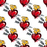 Seamless pattern of valentine hearts and arrows. Seamless background pattern of red valentine hearts, arrow and fire Stock Photography