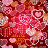 Seamless pattern of valentine love hearts. Art sketch vector illustration