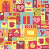 Seamless pattern with gifts, hearts, flowers for Valentine`s Day. stock illustration