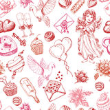Seamless pattern for Valentine's Day, or the day of Weddings Stock Image
