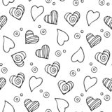 Seamless pattern for Valentine`s day. Different hearts and bubbles. In isolation royalty free stock image