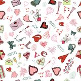 Seamless pattern of Valentine`s Day theme doodle elements. Hand drawn and colored love symbols and hearts on white background. Vector illustration stock illustration