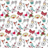 Seamless pattern with valentine`s icons on the white background. For your design. Vector illustration Stock Images