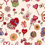Seamless pattern for valentines day in beige colors vector illustration