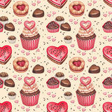 Seamless pattern for valentines day. Cookies, cakes and chocolate sweets for valentines day. Seamless pattern Stock Photo