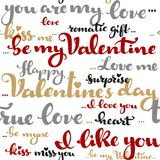 Seamless pattern of Valentines day greetings calligraphy on a wh. Ite background Stock Illustration