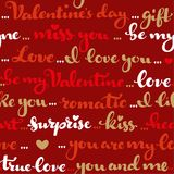 Seamless pattern of Valentines day greetings colored calligraphy. On a red background Royalty Free Illustration