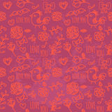 Seamless pattern of Valentines day. Hand Drawn seamless vector pattern. Seamless pattern of Valentines day with bird, heart and flower Stock Photos