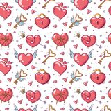 Seamless pattern with valentines day and love objects in doodle style on white background
