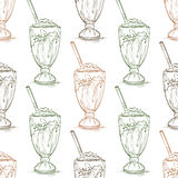Seamless pattern vanilla milkshake scetch Royalty Free Stock Photography