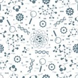 Seamless pattern with variety scientific, education elements. royalty free illustration