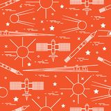 Seamless pattern with variety space exploration elements. Design for banner, poster or print royalty free illustration