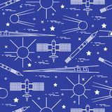 Seamless pattern with variety space exploration elements. Design for banner, poster or print stock illustration