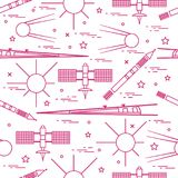 Seamless pattern with variety space exploration elements. Design for banner, poster or print vector illustration