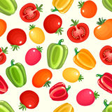 Seamless pattern with variety of tomatoes and bell peppers. Royalty Free Stock Image