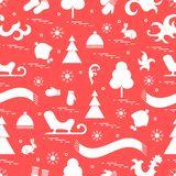 Seamless pattern with variety winter elements:  sleigh, tree, sc. Arf, hat, mittens, socks and other. Design for banner, flyer, poster or print Royalty Free Illustration