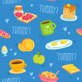 Seamless pattern with various breakfast products Royalty Free Stock Image