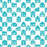 Seamless pattern with various cartoon houses. Royalty Free Stock Photos