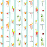 Seamless pattern of various classic cocktails Royalty Free Stock Photography