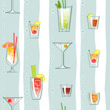 Seamless pattern of various classic cocktails Stock Photography