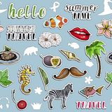 Seamless pattern with various colorful stickers. Traveling and paradise concept. stock illustration