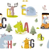 Seamless pattern with various cute and funny cartoon zoo animals on background stock illustration